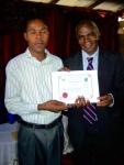 Jack Zulu receiving his certificate